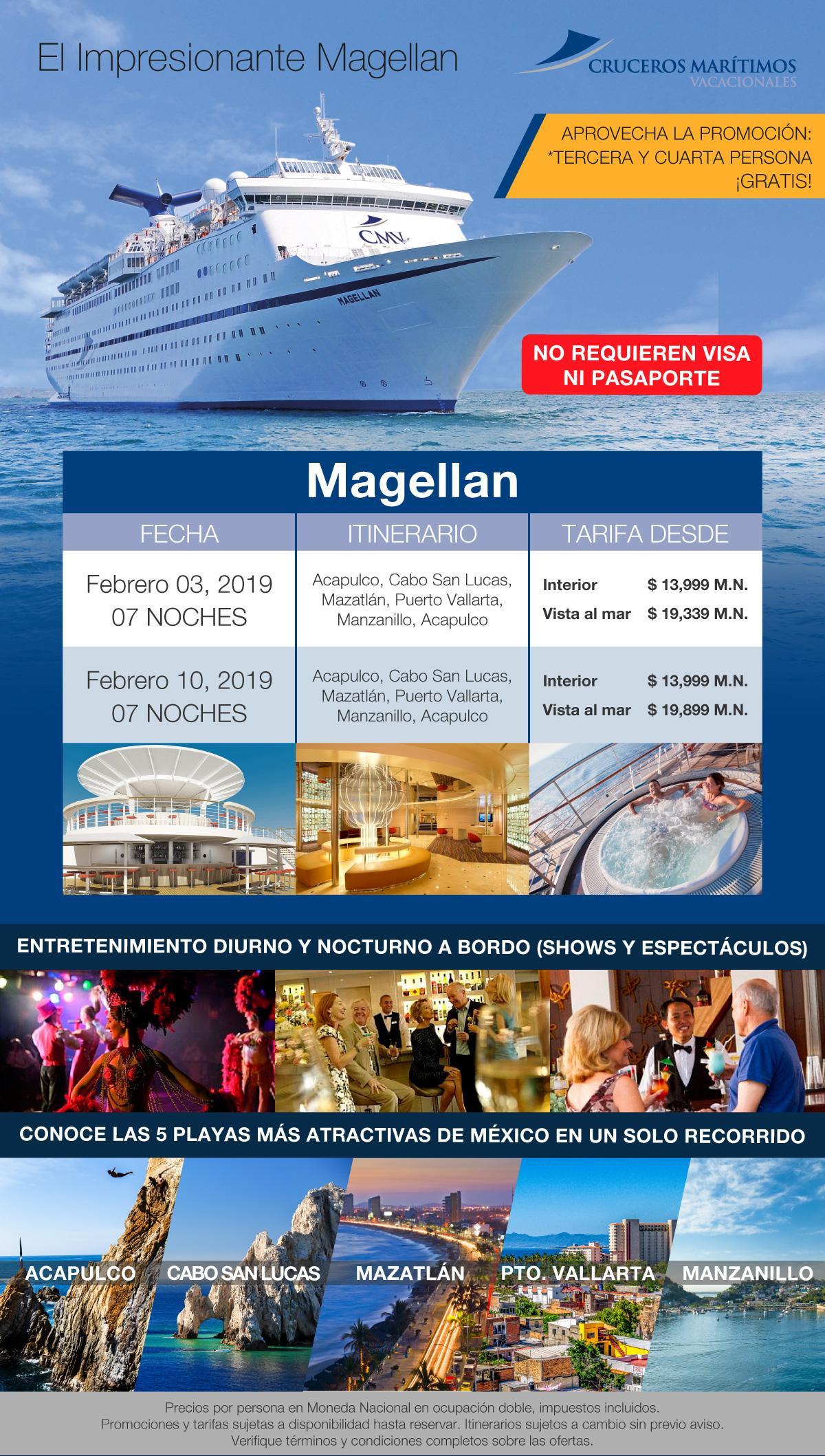 CMV Crucero Magellan Promocion 3. y 4. Persona Gratis