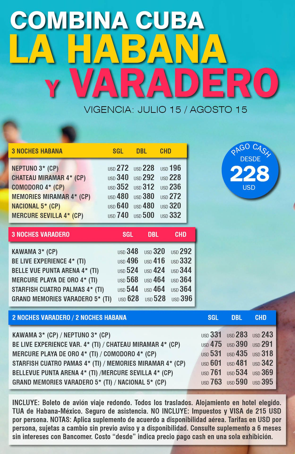 Combina Cuba La Habana y Varadero