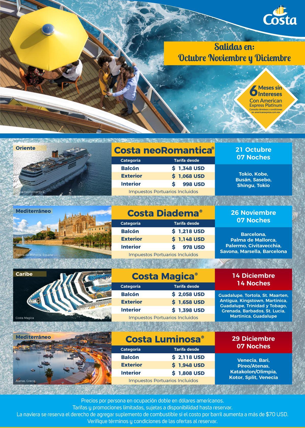 Costa Cruceros Navidad y Fin de Año 2018