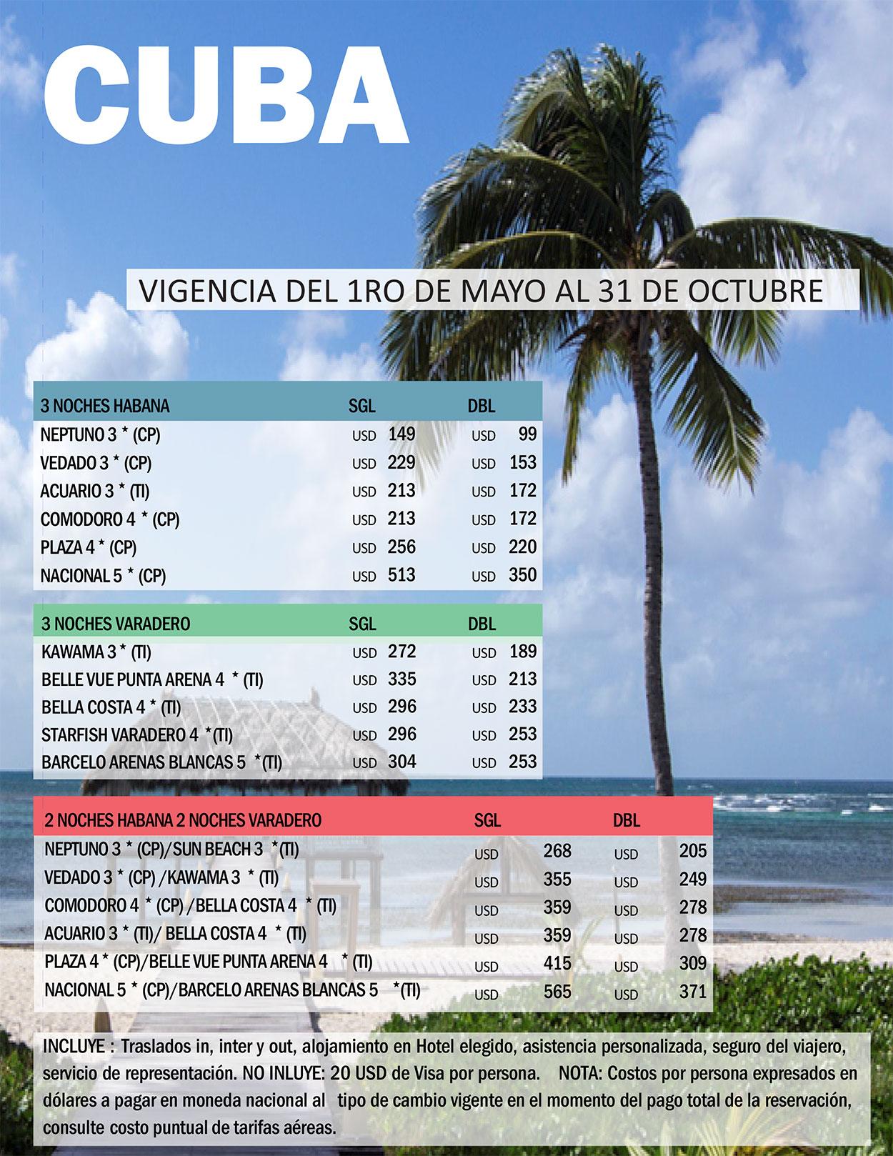 Cuba Promocion Hoteles en La Habana y Varadero