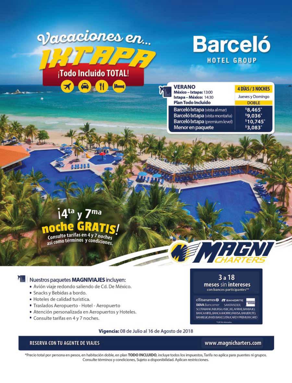Magnicharters 2018 Barceló Hotel Paquetes a Ixtapa desde México
