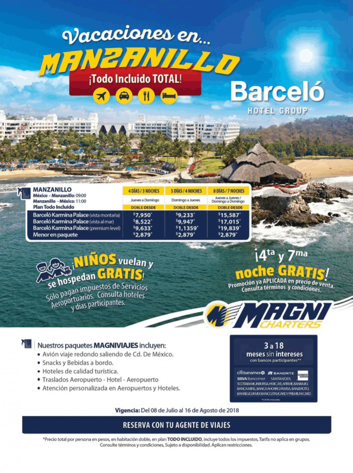 Magnicharters 2018 Barceló Hotel Paquetes a Manzanillo desde México