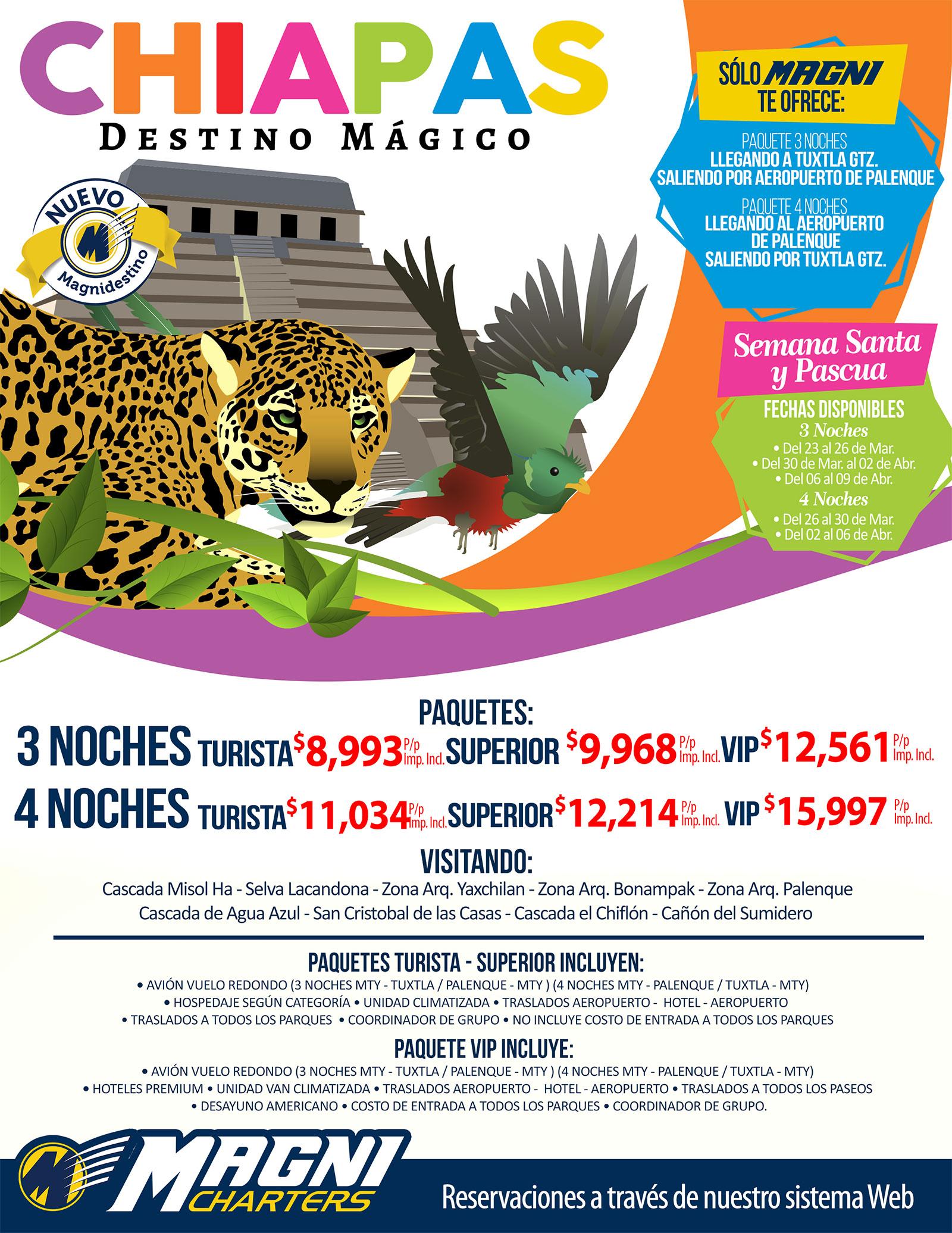 Magnicharters Paquetes a Chiapas desde Monterrey