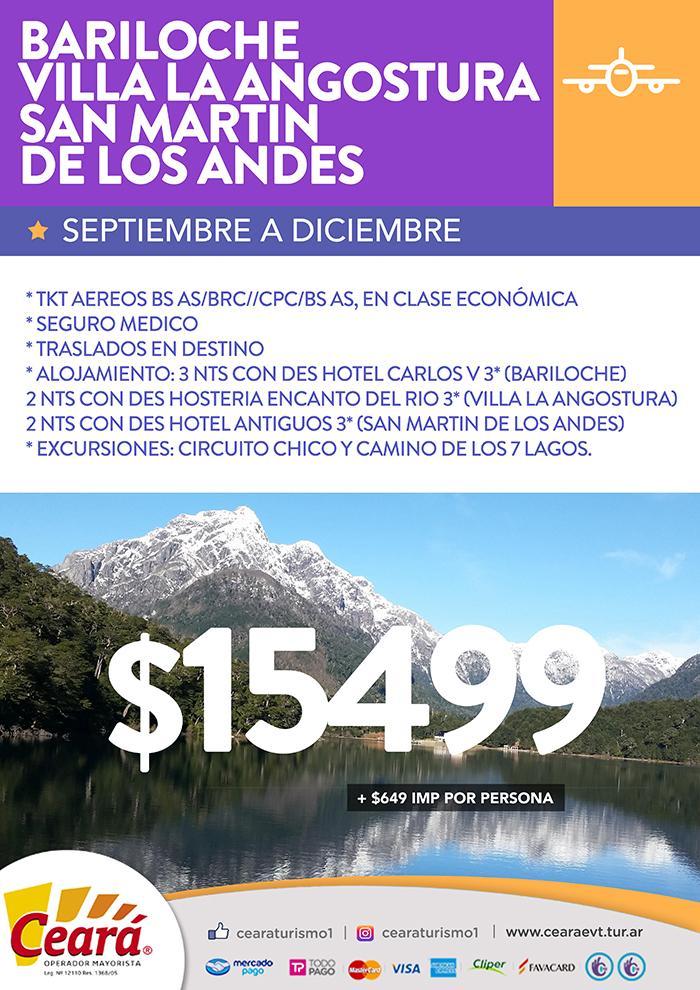 Paquete a Bariloche desde Buenos Aires Septiembre a Diciembre 2018