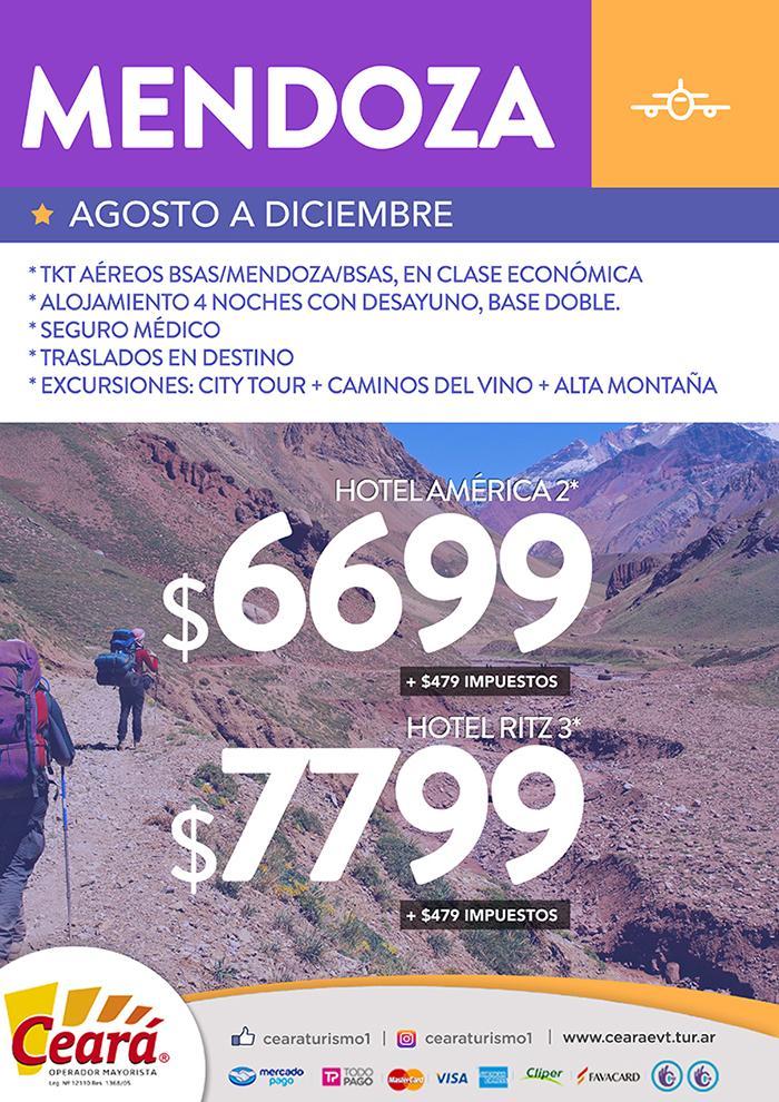 Paquete a Mendoza desde Buenos Aires Septiembre a Diciembre 2018