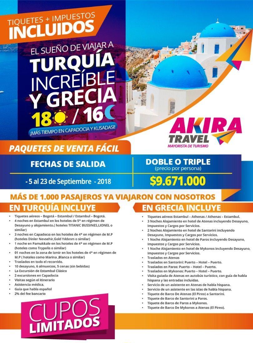Paquete a Turquía y Grecia desde Bogotá Colombia
