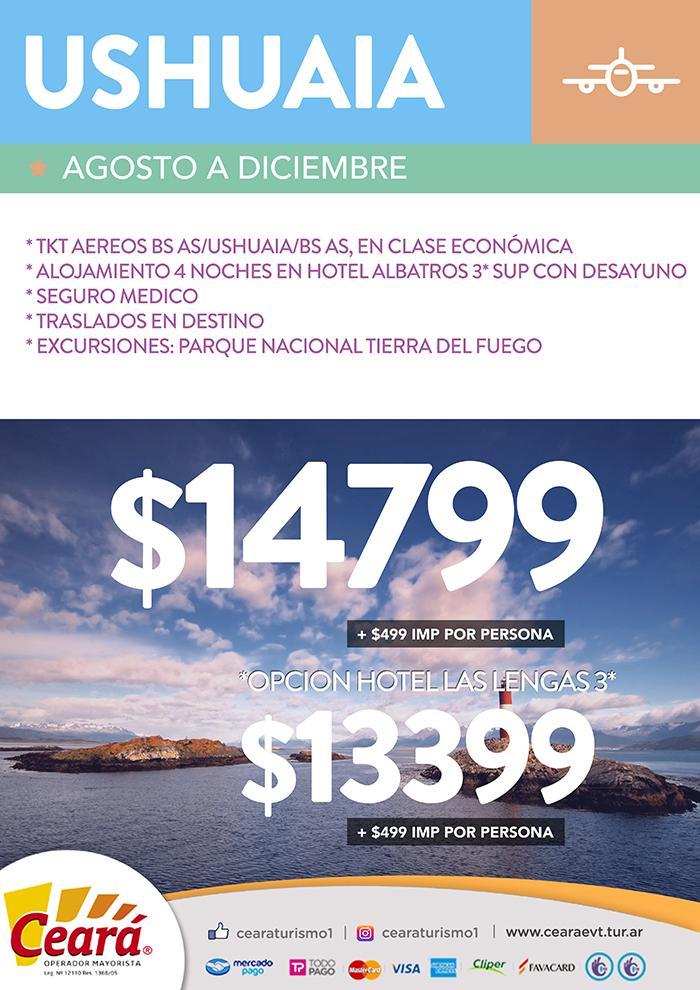 Paquete a Ushuaia desde Buenos Aires Septiembre a Diciembre 2018