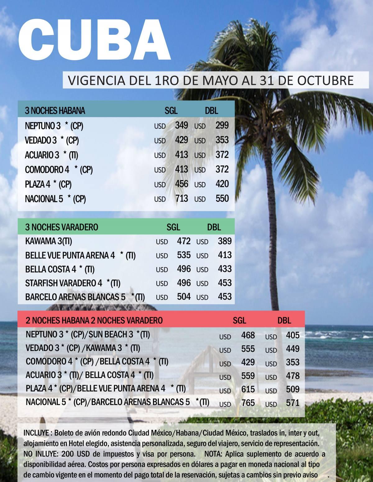 Paquetes a Cuba Habana y Varadero Avión + Hotel