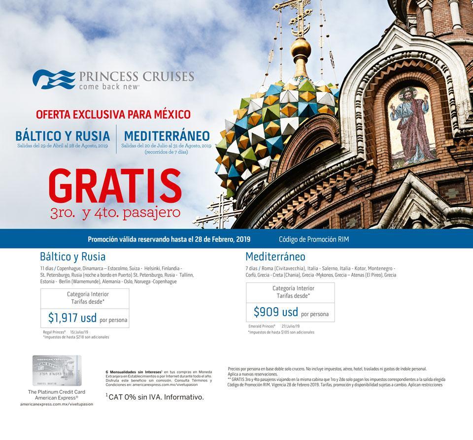Princess Cruises Bálticos y Rusia & Mediterráneo