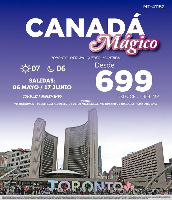 Canadá Mágico 2019 Paquete con Vuelos desde México