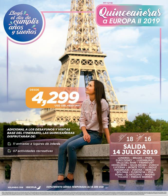 Celebra Tus XV Años por Europa 14 Julio 2019