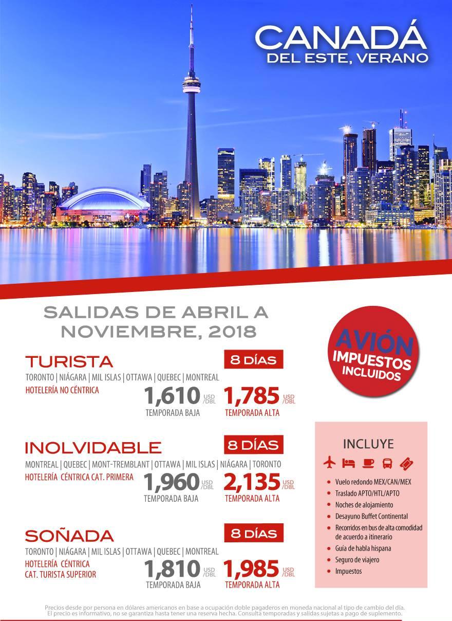 Circuitos de Verano Canadá del Este Todo Incluido Vuelos desde México