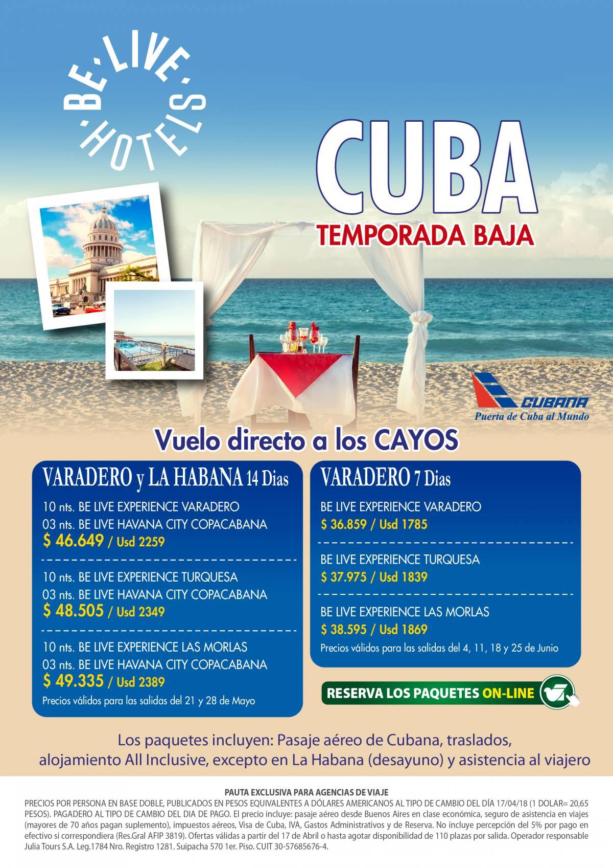 Cuba Varadero y Habana desde Buenos Aires