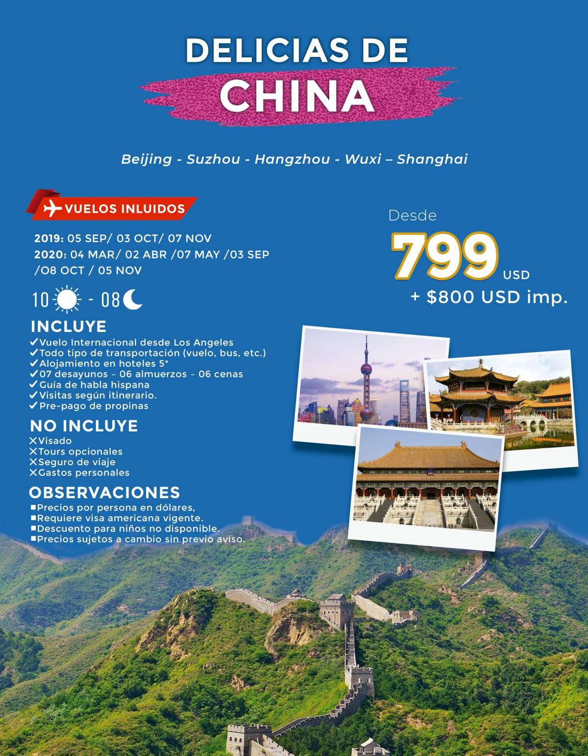 Delicias de China 10 Días desde 799 USD