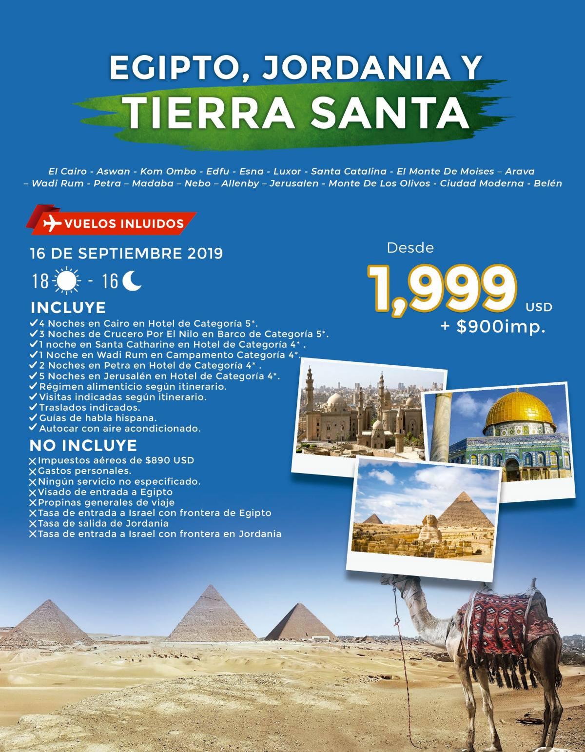 Egipto Jordania Tierra Santa 18 Diás desde 1,999 USD
