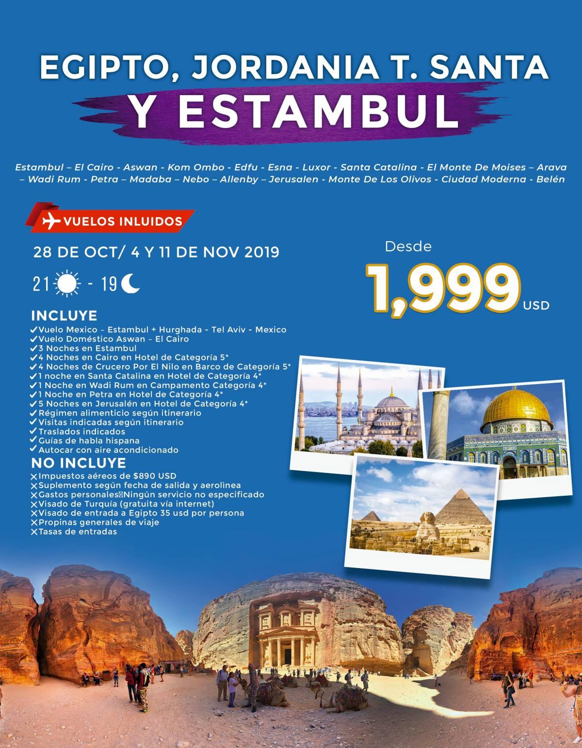Egipto Jordania Tierra Santa y Estambul 21 Diás desde 1,999 USD