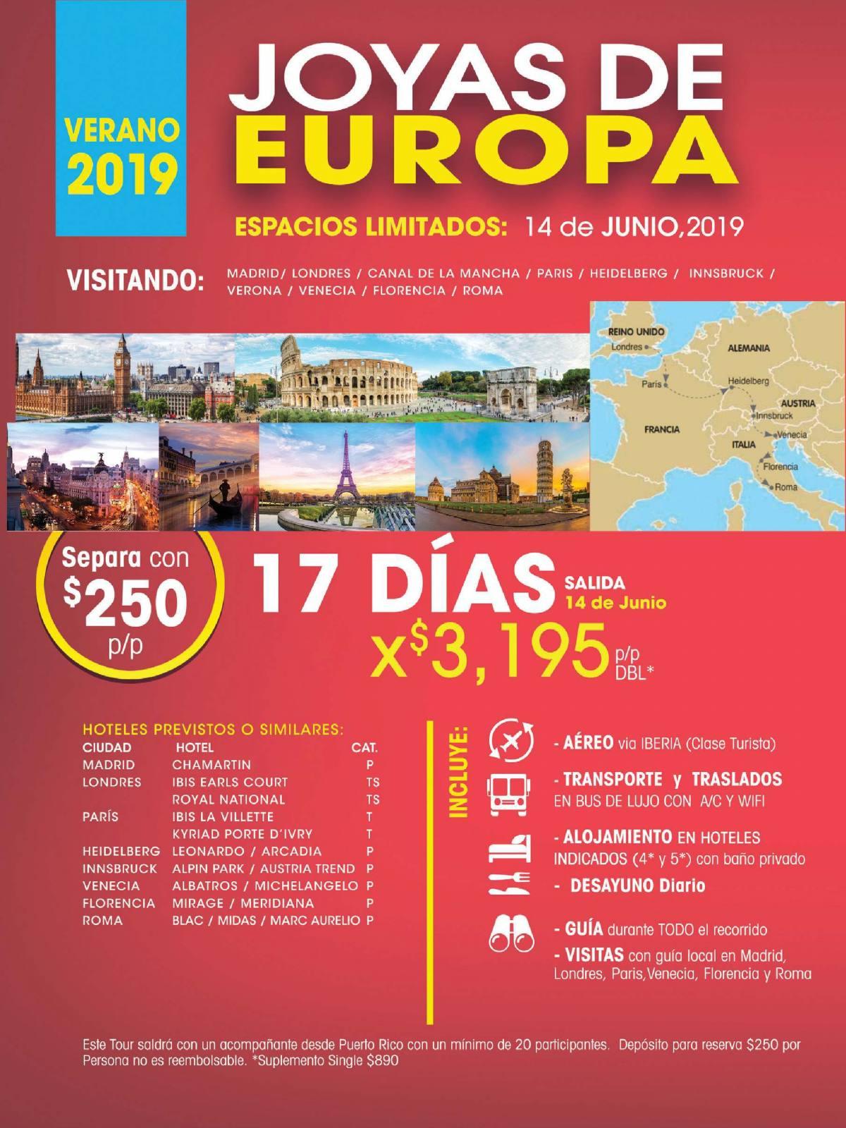 Joyas de Europa 17 Días por 3,195 USD