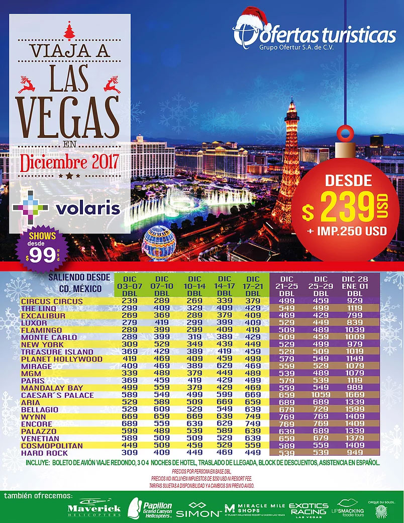 Las Vegas Todo Incluido desde Guadalajara Diciembre
