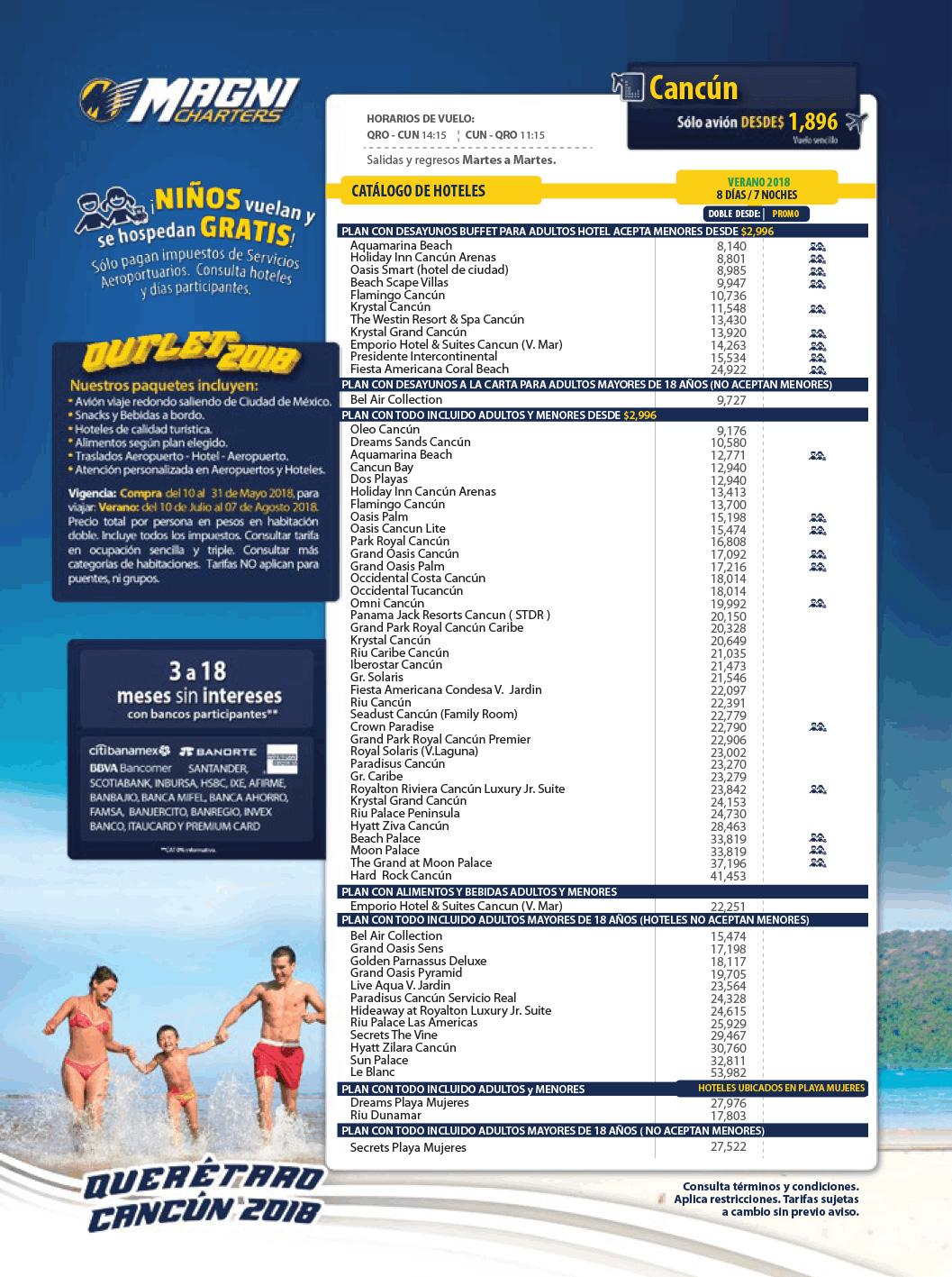 Magnicharters Outlet Verano 2018 Paquetes a Cancún desde Querétaro