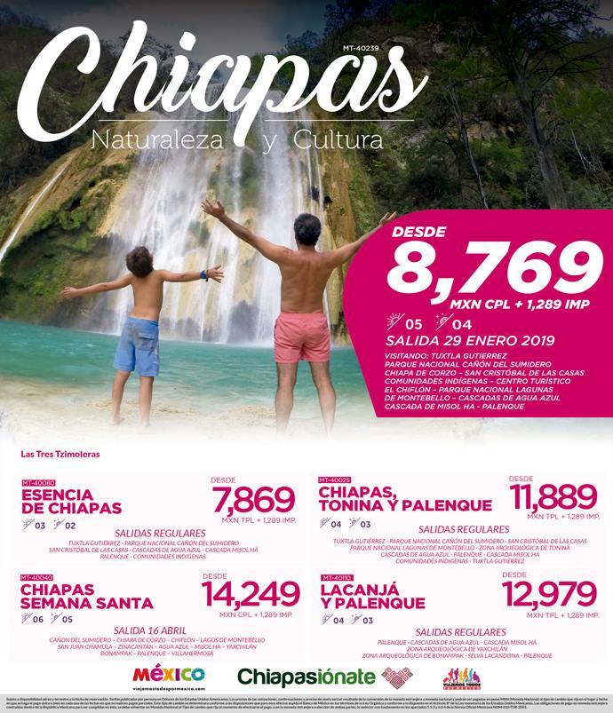 Paquete a Chiapas 8,769 MXN Avión y Hotel Incluidos.