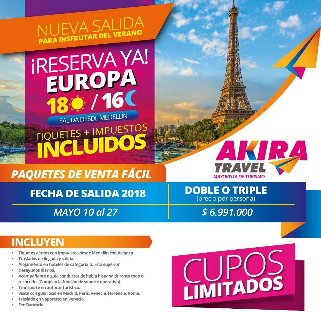 Paquete a Europa desde Medellín Colombia