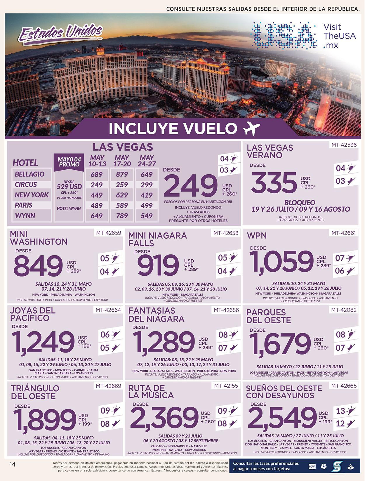 Paquetes Avión + Hotel Las Vegas & Estados Unidos