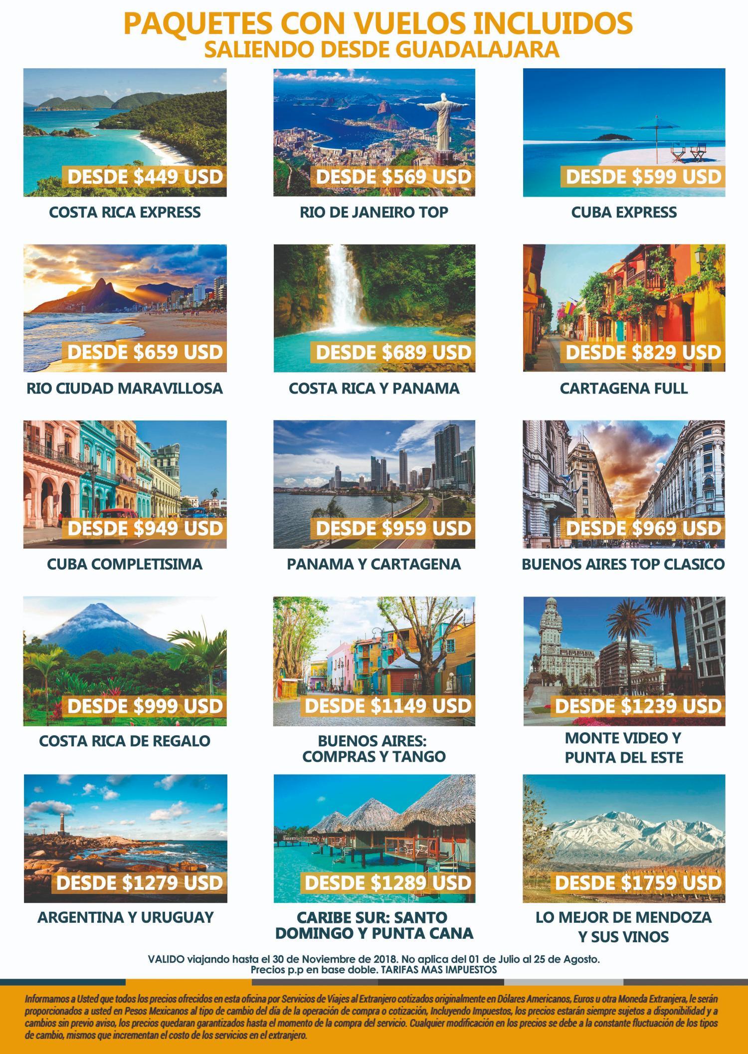 Paquetes con Vuelos desde Guadalajara