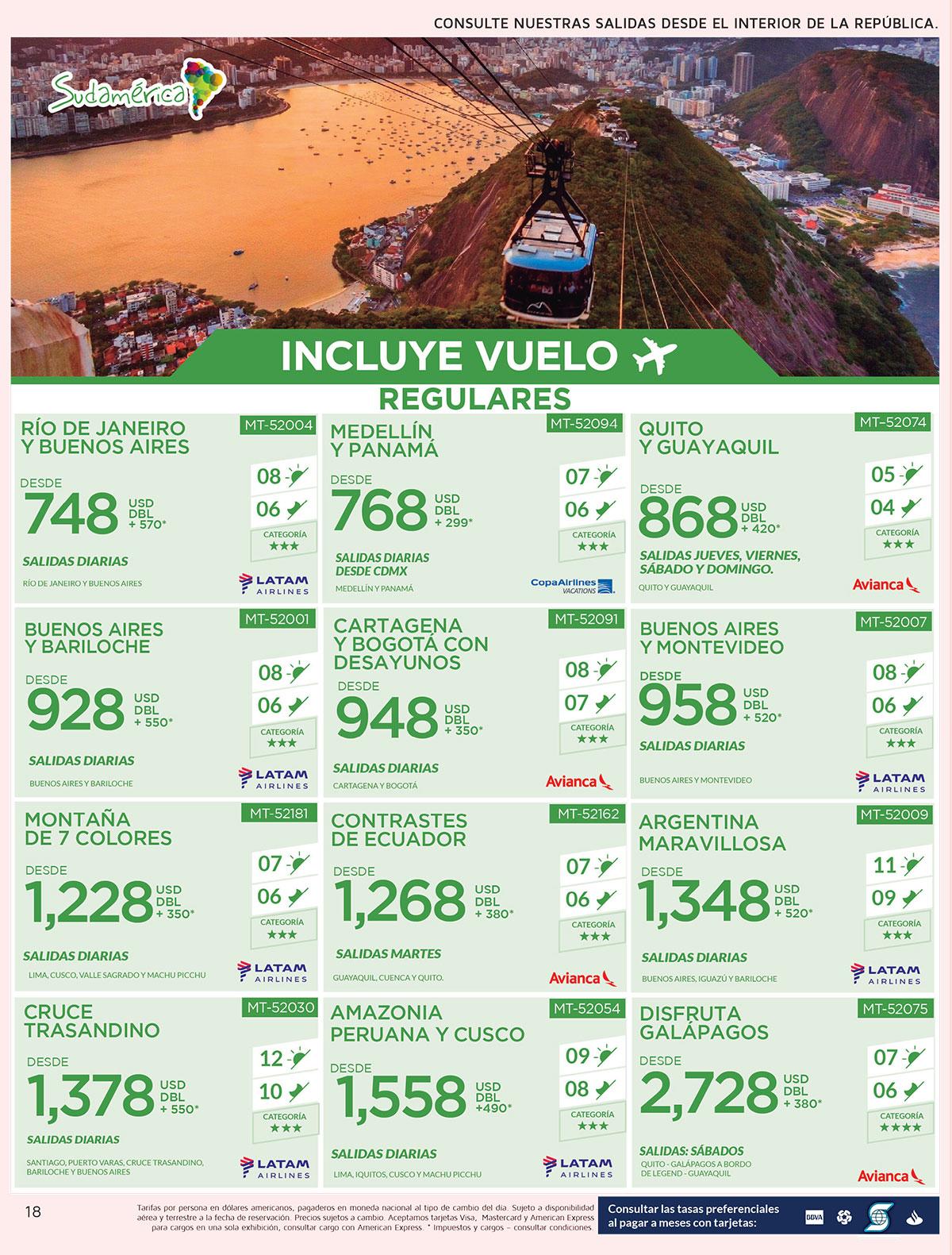 Paquetes a Sudamérica con Vuelos Incluidos