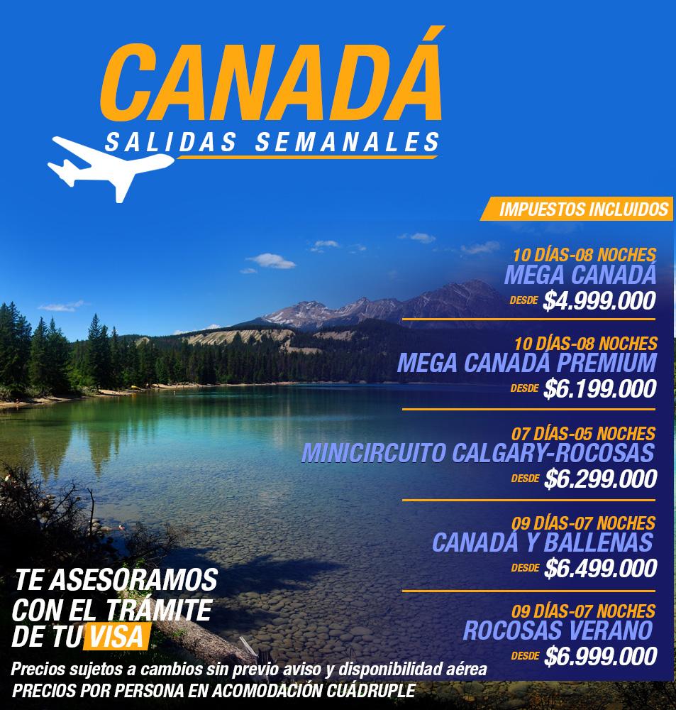 Plan Todo Incluido Canadá desde Bogotá Colombia
