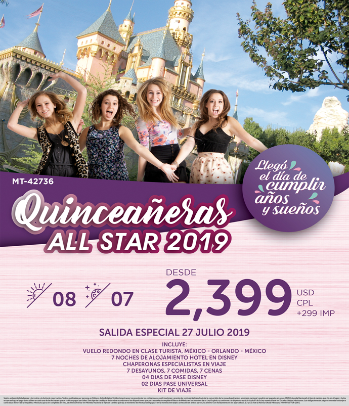 Quinceañeras a Orlando DISNEY ALL STAR 2019 - 27 Julio