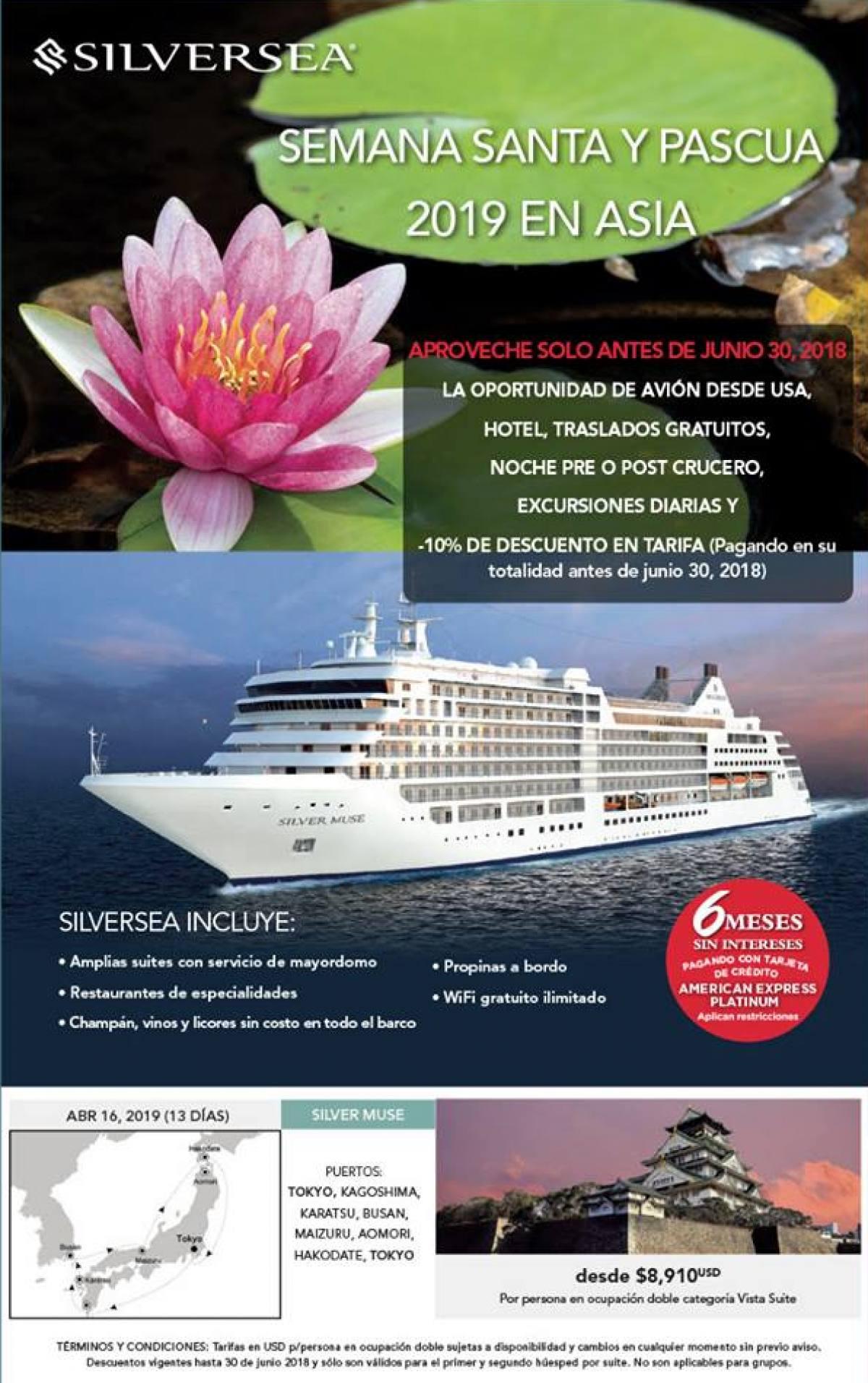 Silversea Crucero por Japón Semana Santa 2019