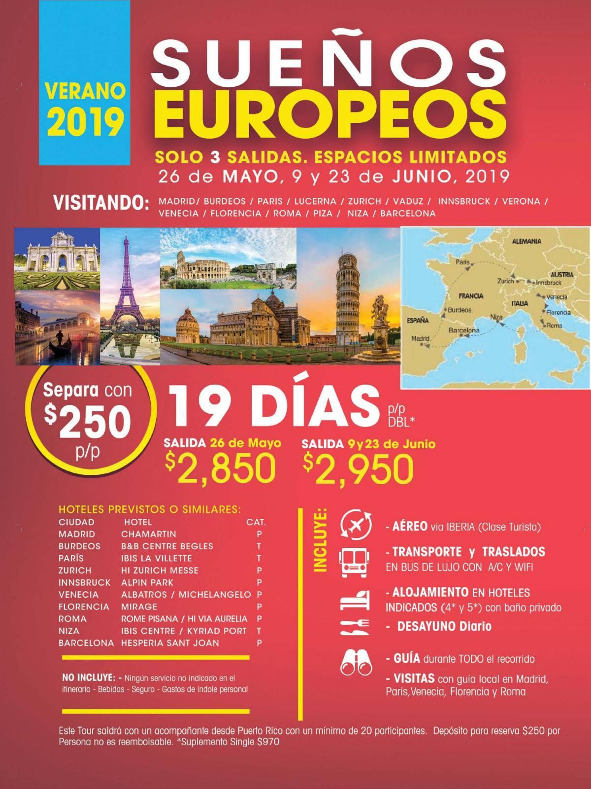 Sueños Europeos 19 Días por 2,850 USD