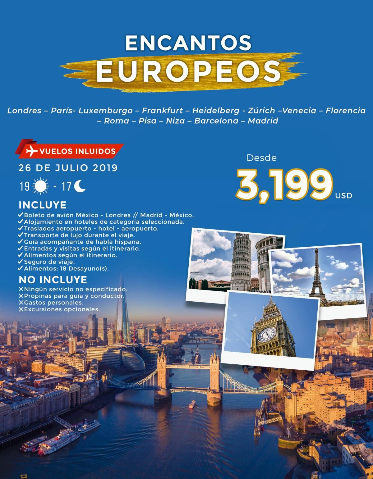 Tour Encantos Europeos 19 Días Todo Incluido 3,199 USD