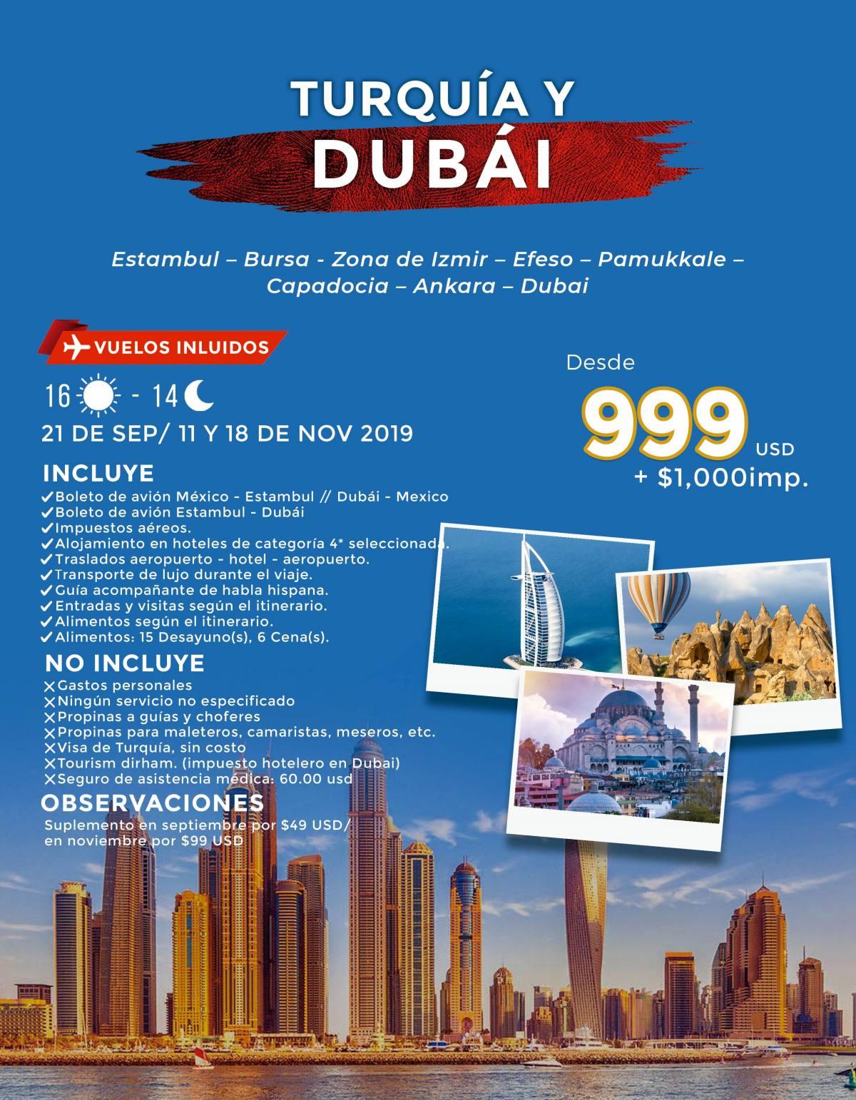 Turquía y Dubái 16 Días desde 999 USD