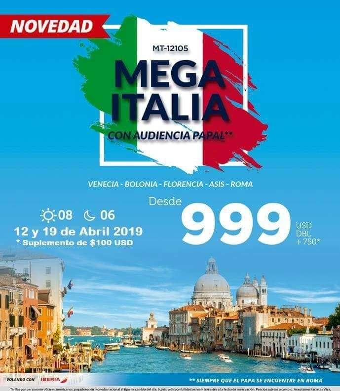 Viaje a Italia con Audiencia Papal en Roma 2019