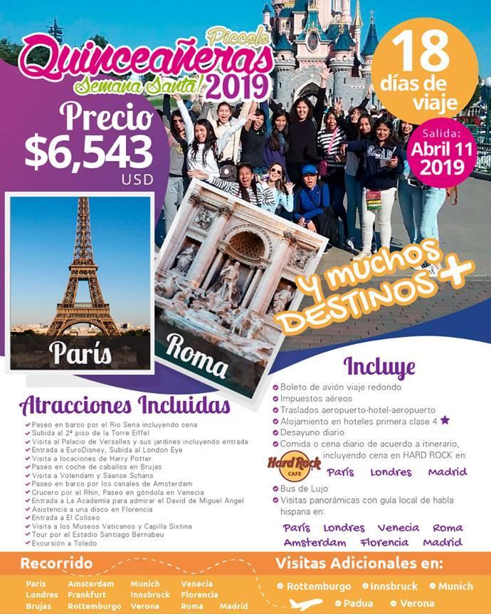 Viaje para Quinceañeas a Europa 18 Días 11 Abril 2019