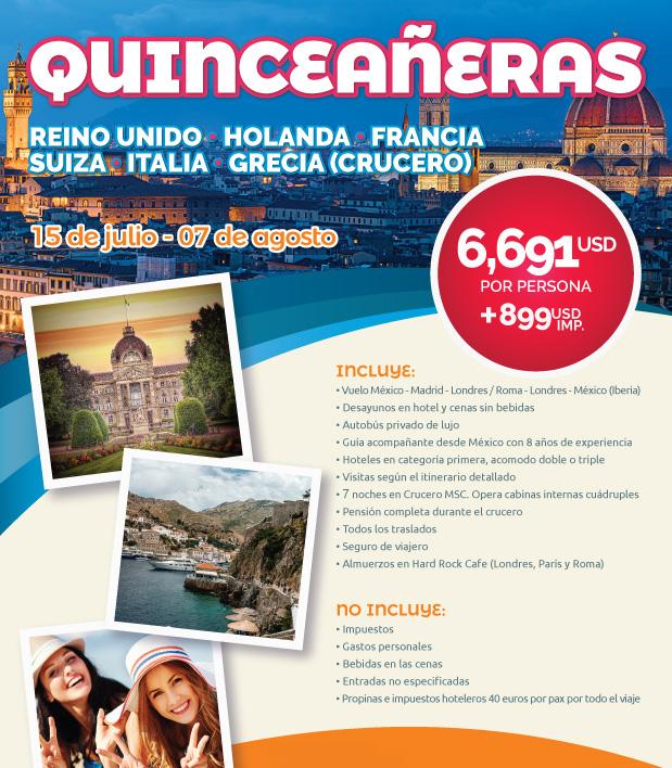 Viaje para Quinceañeas a Europa 23 Días Salida 15 de Julo 2019